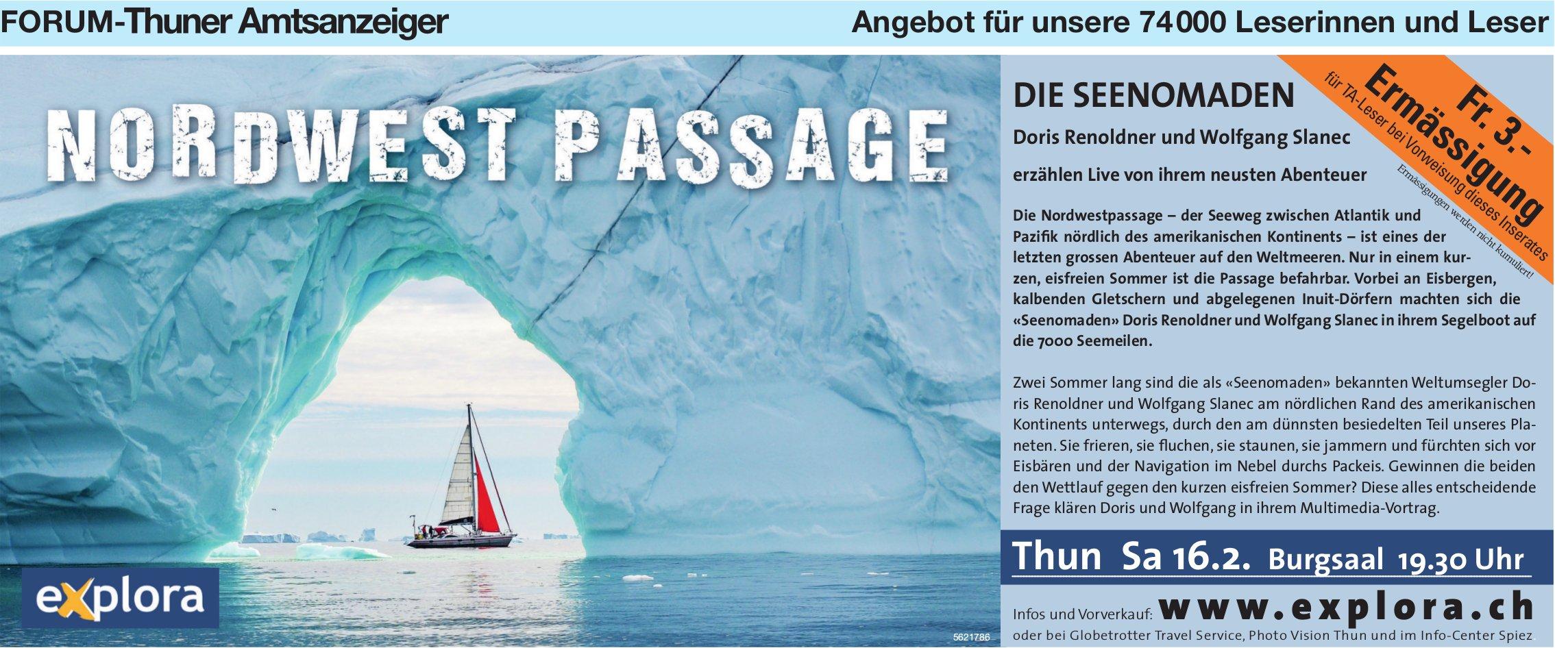 Forum-Thuner Amtsanzeiger - Nordwest Passage, die Seenomaden: Live-Vortrag am 16. Februar