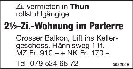 2½-Zi.-Wohnung im Parterre in Thun zu vermieten