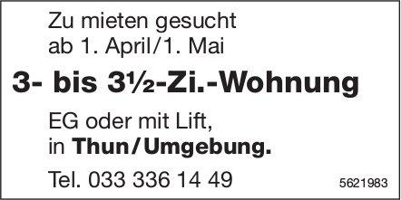 3- bis 3½-Zi.-Wohnung in Thun/Umgebung zu mieten gesucht
