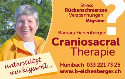 Craniosacral Therapie, Barbara Eichenberger, Hünibach