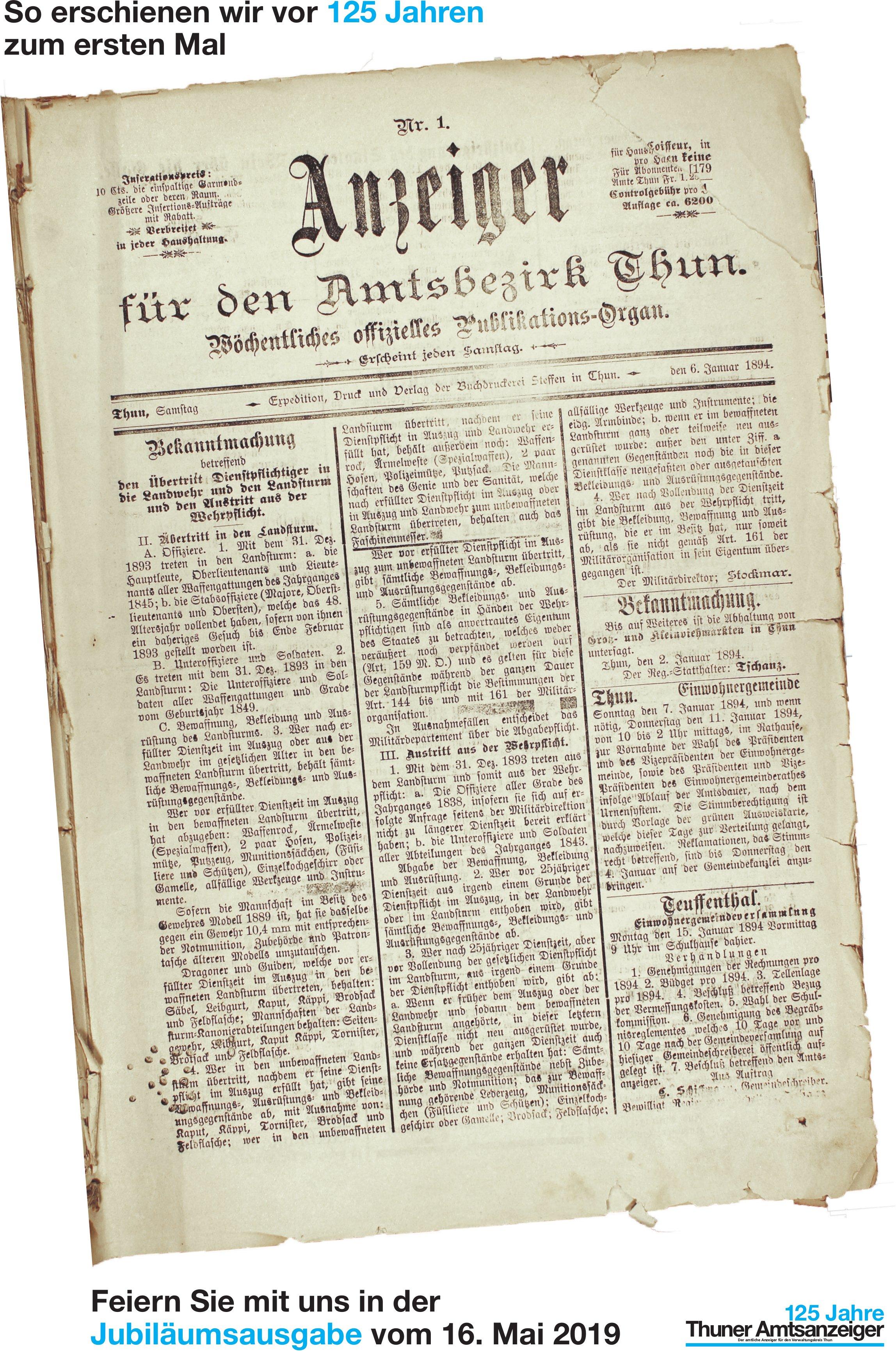 Thuner Amtsanzeiger - Feiern Sie mit uns in der Jubiläumsausgabe vom 16. Mai 2019