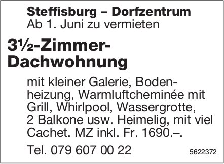 3½-Zimmer- Dachwohnungin Steffisburg-Dorfzentrum zu vermieten
