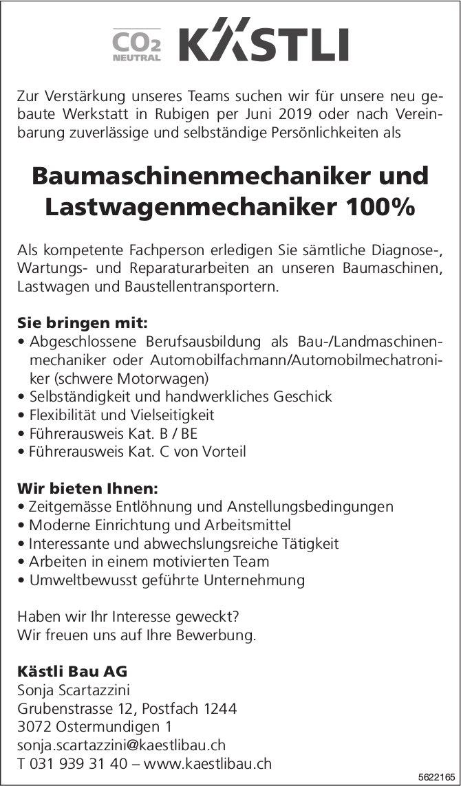 Baumaschinenmechaniker und Lastwagenmechaniker 100%, Kästli Bau AG, Ostermundigen, gesucht