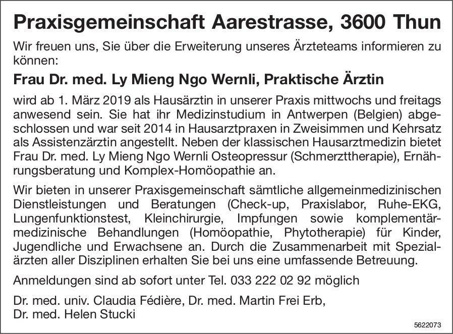 Frau Dr. med. Ly Mieng Ngo Wernli, Praktische Ärztin - Praxisgemeinschaft Aarestrasse, Thun