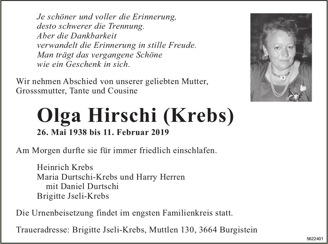 Hirschi (Krebs) Olga, Februar 2019 / TA