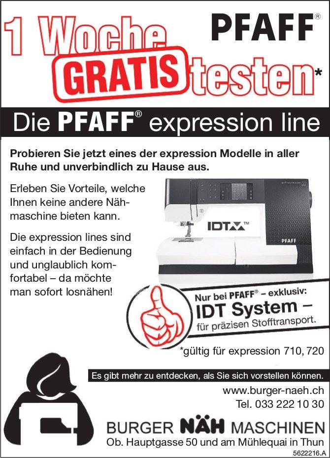 BURGER NÄH MASCHINEN - Die PFAFF expression line: 1 Woche gratis testen