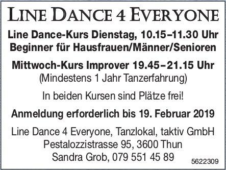 LINE DANCE 4 EVERYONE - Line Dance-Kurs, Anmeldung erforderlich bis 19. Februar