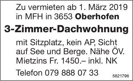 3-Zimmer-Dachwohnung in Oberhofen zu vermieten
