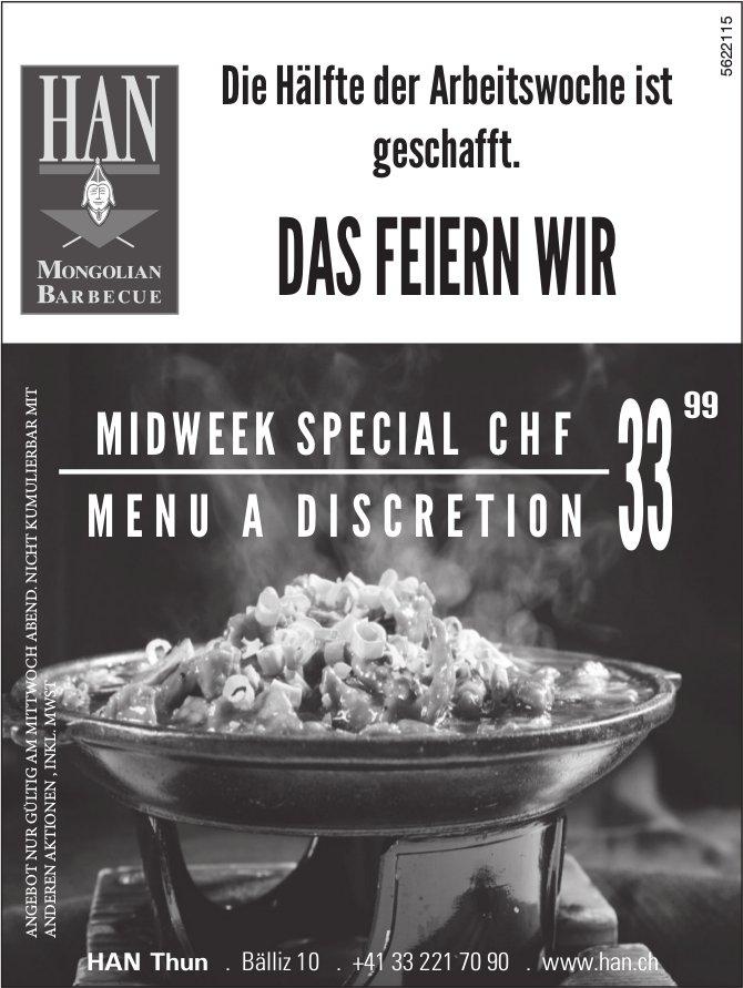 HAN Thun - MIDWEEKSPECIAL MENU A DISCRETION CHF 33.99