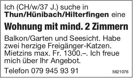 Wohnung mit mind. 2 Zimmern in Thun/Hünibach/Hilterfingen  zu mieten gesucht