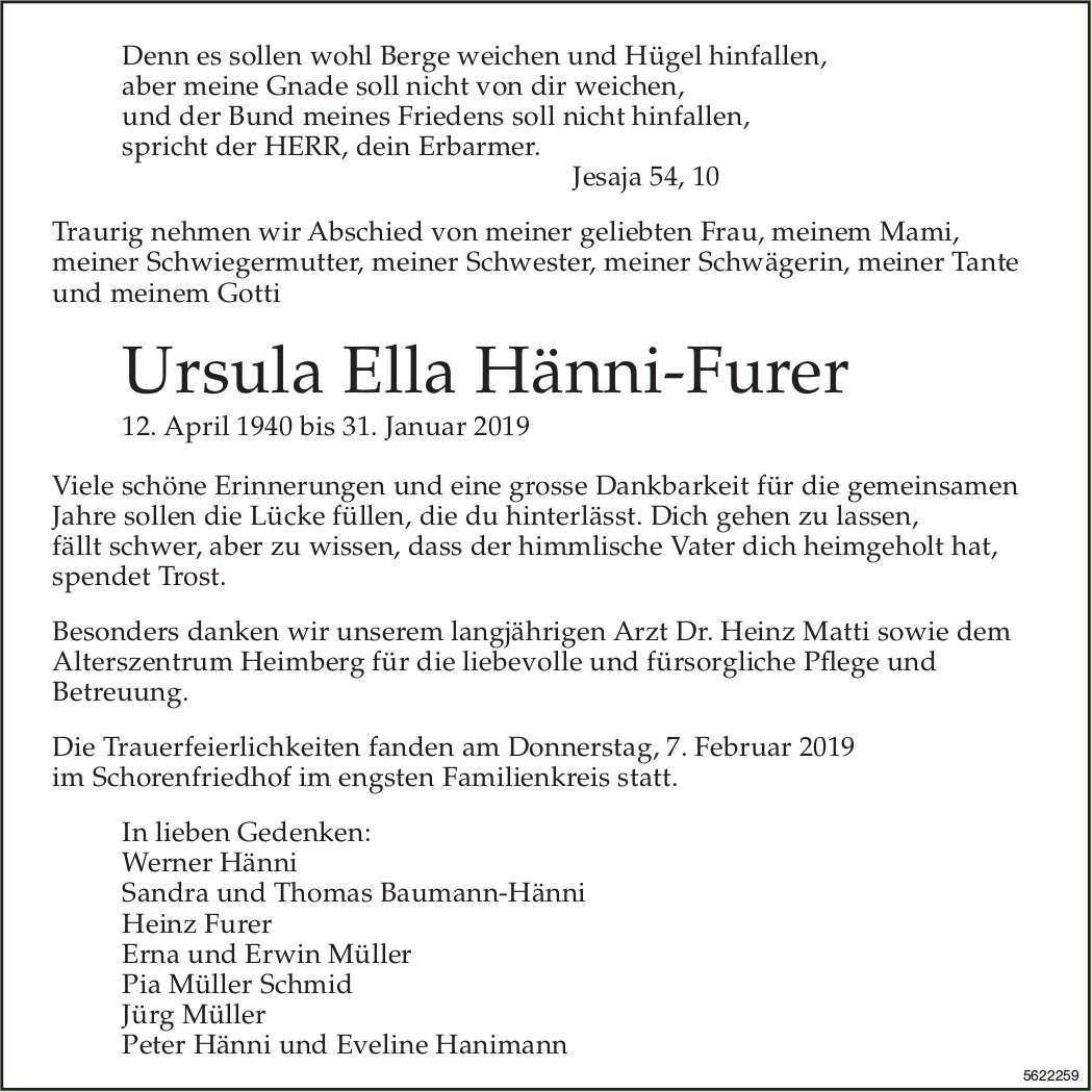 Hänni-Furer Ursula Ella, Januar 2019 / TA