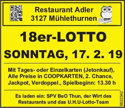 Restaurant Adler Mühlethurnen - 18er-LOTTO am Sonntag, 17. Februar