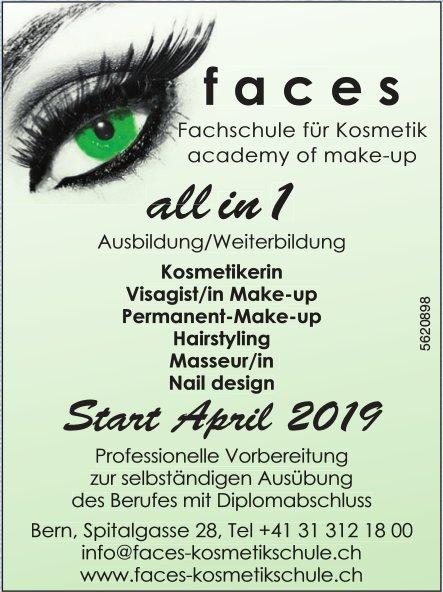 Faces, Fachschule für Kosmetik - All in 1: Start April 2019