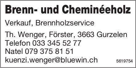 Brenn- und Cheminéeholz, Verkauf, Brennholzservice - Th. Wenger