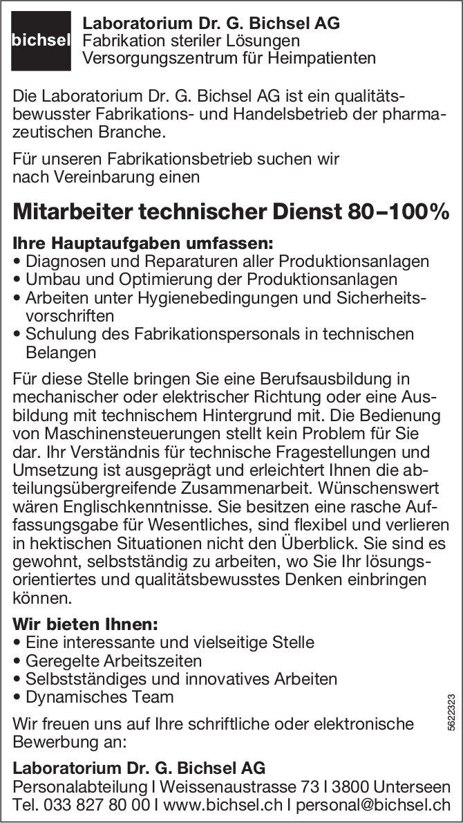 Mitarbeiter technischer Dienst 80–100%, Laboratorium Dr. G. Bichsel AG, Unterseen, gesucht