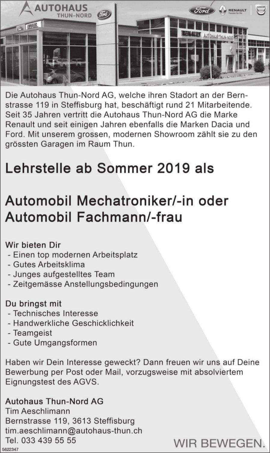 Lehrstelle als Automobil Mechatroniker/-in oder Automobil Fachmann/-frau, Autohaus Thun-Nord AG