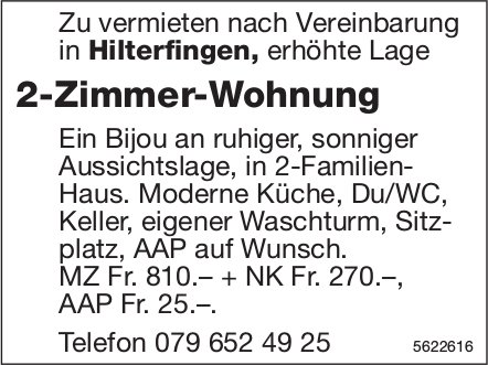 2-Zimmer-Wohnung in Hilterfingen zu vermieten