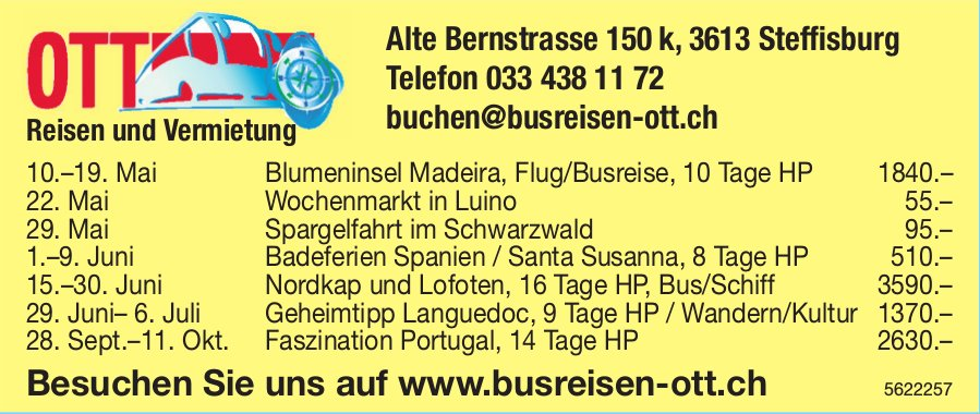 OTTO Busreisen, Steffisburg - Reisen und Vermietung