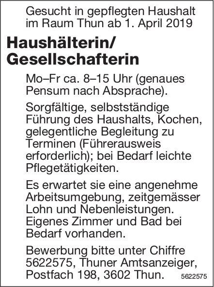 Haushälterin/ Gesellschafterin, Raum Thun, gesucht