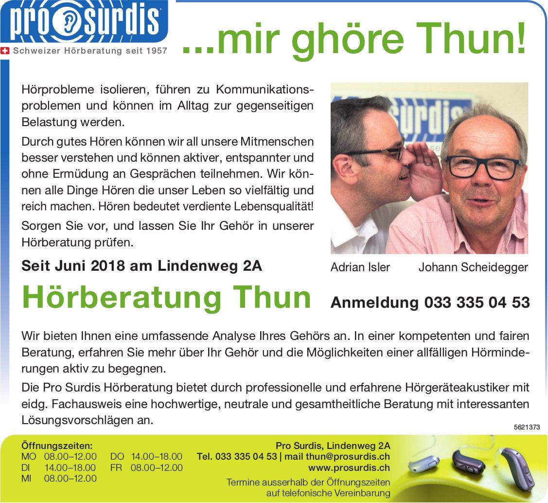 Pro Surdis, Hörberatung Thun - ...mir ghöre Thun!