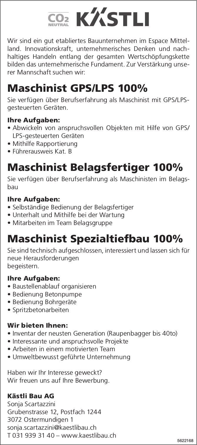 Maschinist GPS/LPS 100%, Maschinist Belagsfertiger 100% & Maschinist Spezialtiefbau 100%, gesucht