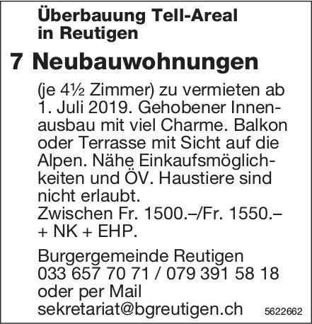 Überbauung Tell-Areal in Reutigen: 7 Neubauwohnungen ab 1. Juli zu vermieten