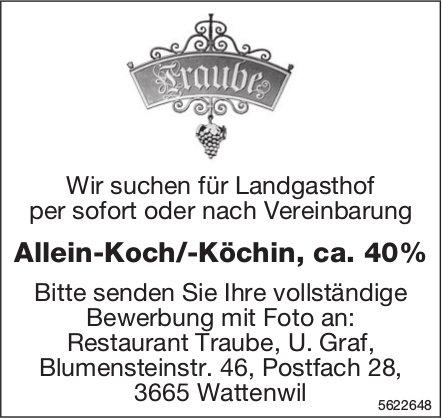 Allein-Koch/-Köchin, ca. 40%, Restaurant Traube, Wattenwil, gesucht