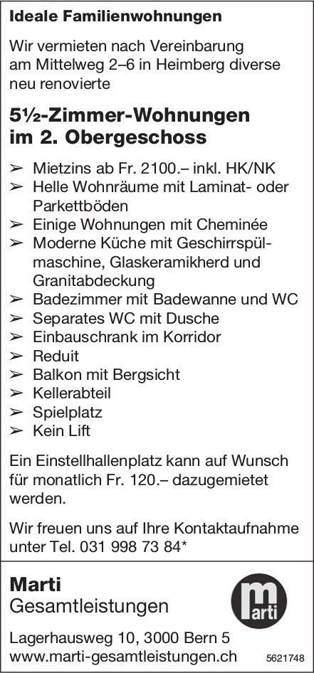 5½-Zimmer-Wohnungen im 2. OG in Heimberg zu vermieten