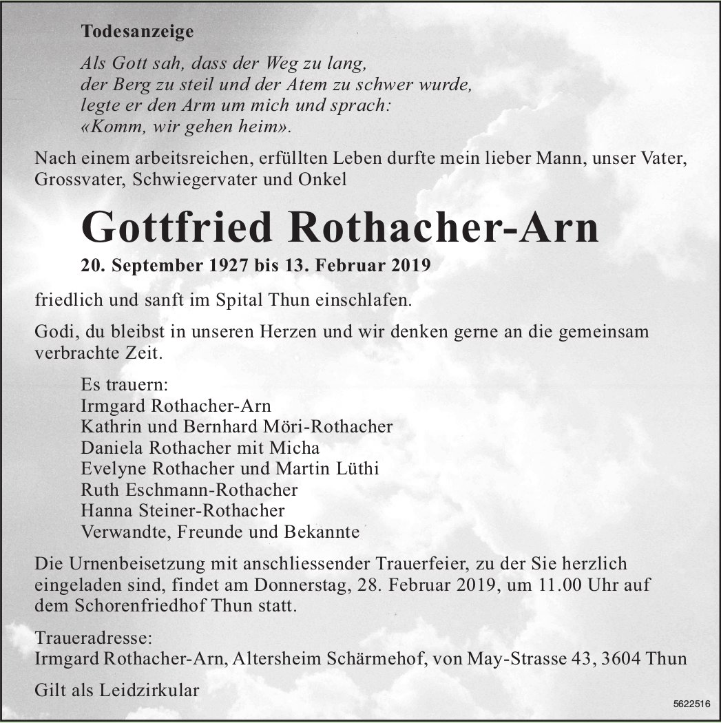 Rothacher-Arn Gottfried, Februar 2019 / TA