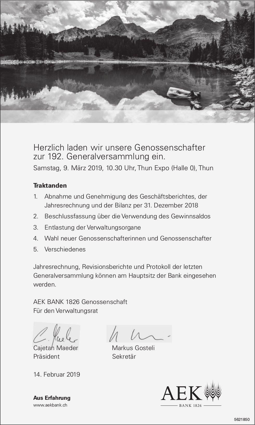 Herzlich laden wir unsere Genossenschafter zur 192. Generalversammlung ein, 9. März, Thun Expo