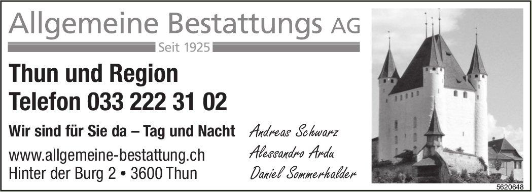 Allgemeine Bestattungs AG - Wir sind für Sie da – Tag und Nacht