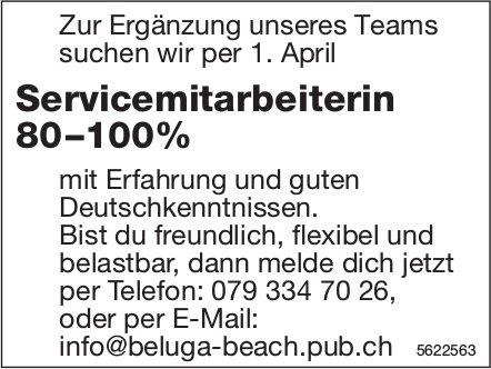 Servicemitarbeiterin 80–100%, Beluga Beach Pub, gesucht