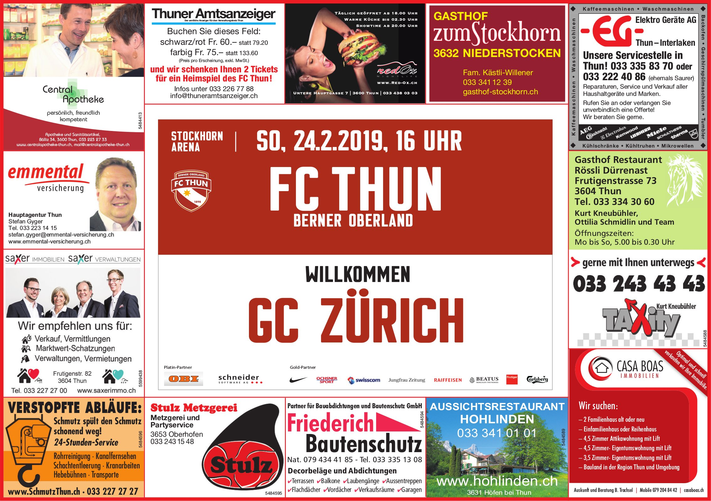 FC THUN BERNER OBERLAND WILLKOMMEN GC ZÜRICH AM 24. FEBRUAR