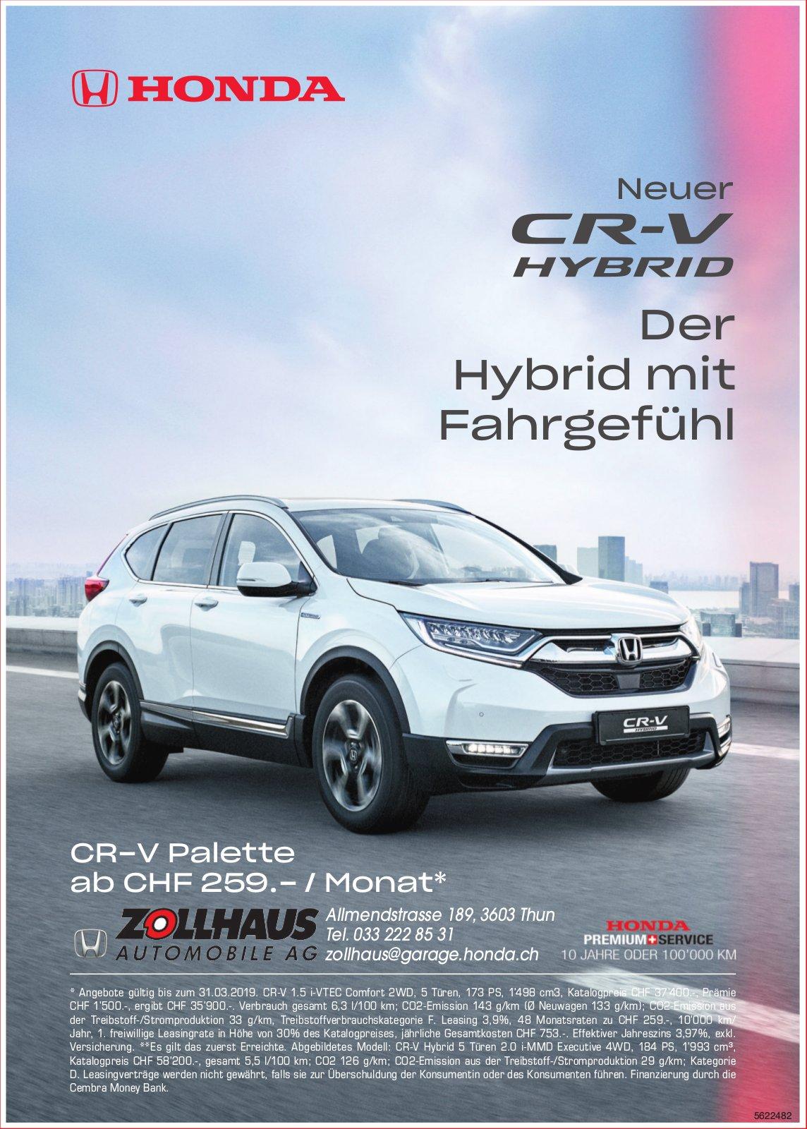 Zollhaus Automobile AG - Neuer HONDA CR-V Hybrid: Der Hybrid mit Fahrgefühl