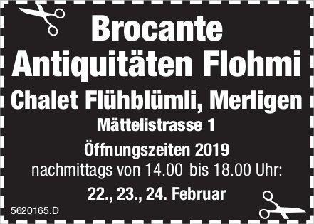 Brocante Antiquitäten Flohmi, Merlingen, am 22./23./24. Februar
