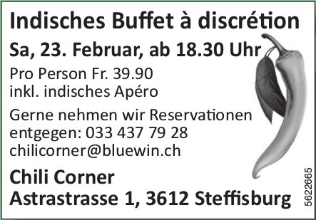 Chili Corner - Indisches Buffet à discrétion am 23. Februar