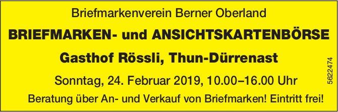 Briefmarkenverein Berner Oberland - BRIEFMARKEN- und ANSICHTSKARTENBÖRSE am 24. Februar