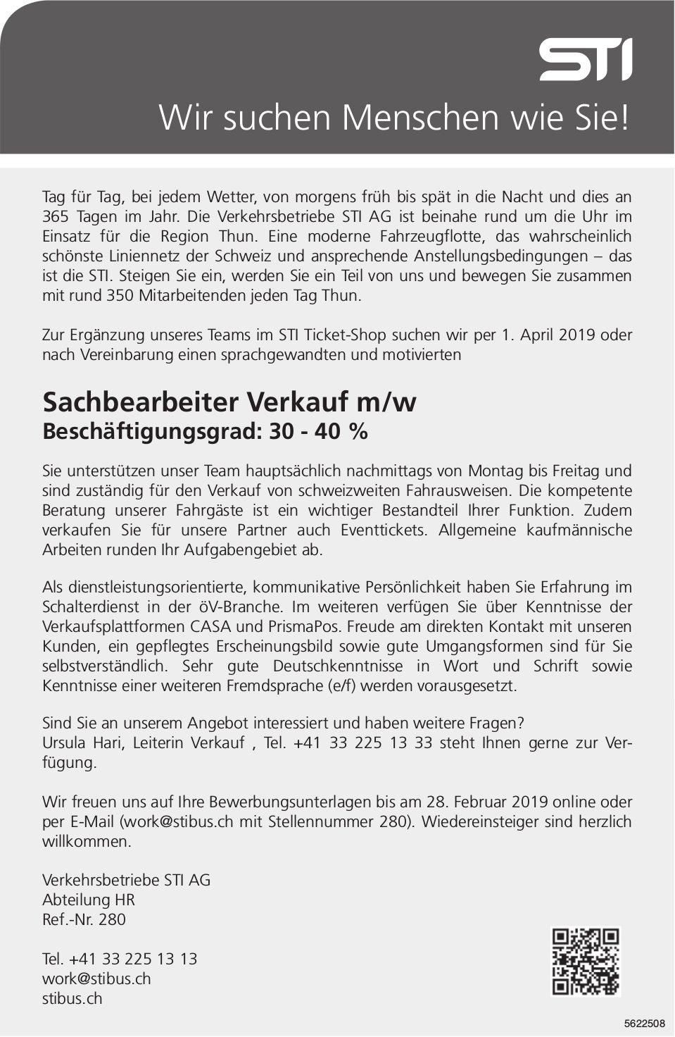Sachbearbeiter Verkauf m/w, 30-40%, Verkehrsbetriebe STI AG, STI Ticket-Shop, gesucht