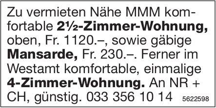 2½-Zimmer-Wohnung sowie Mansarde Nähe MMM und 4-Zi--Wohnung im Westamt zu vermieten