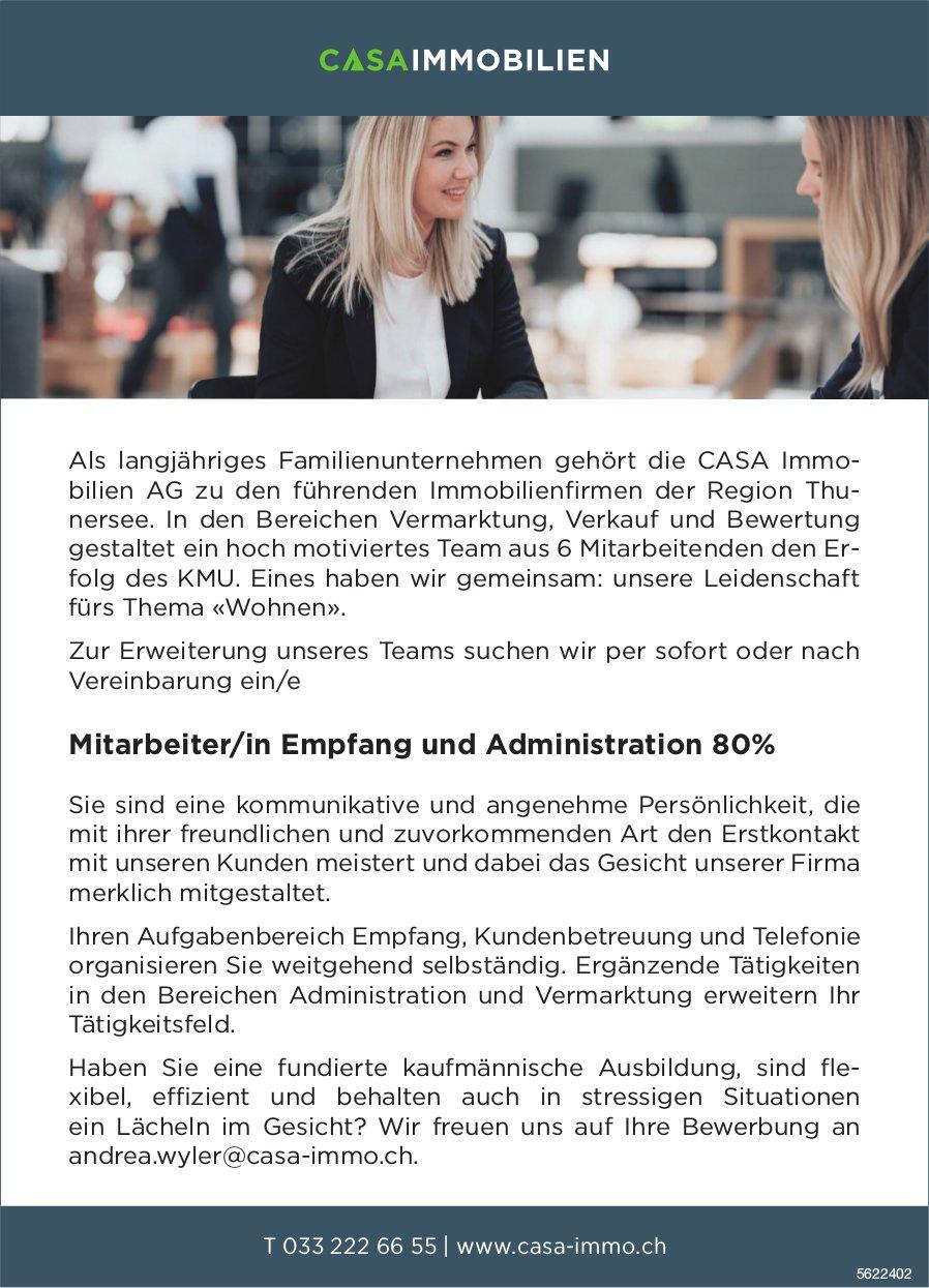Mitarbeiter/in Empfang und Administration 80%, CASA IMMOBILIEN AG, gesucht