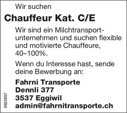 Chauffeur Kat. C/E, 40 - 100%, Fahrni Transporte, Eggiwil, gesucht