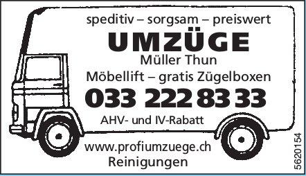 UMZÜGE, Müller Thun - speditiv – sorgsam – preiswert