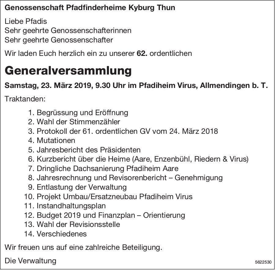 Genossenschaft Pfadfinderheime Kyburg Thun - Generalversammlung am 23. März