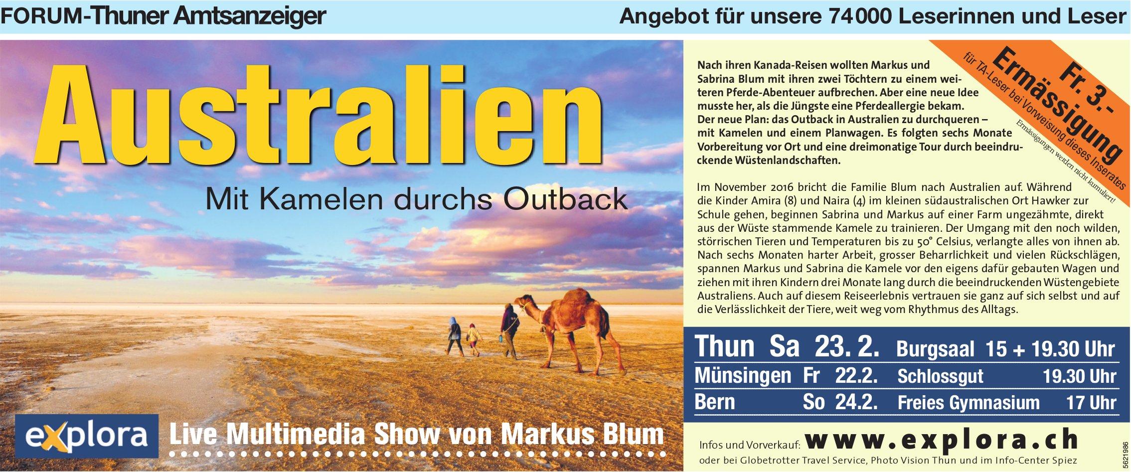 Forum-Thuner Amtsanzeiger - Australien mit Kamelen durchs Outback: Live Multimedia Show am 23. Feb.