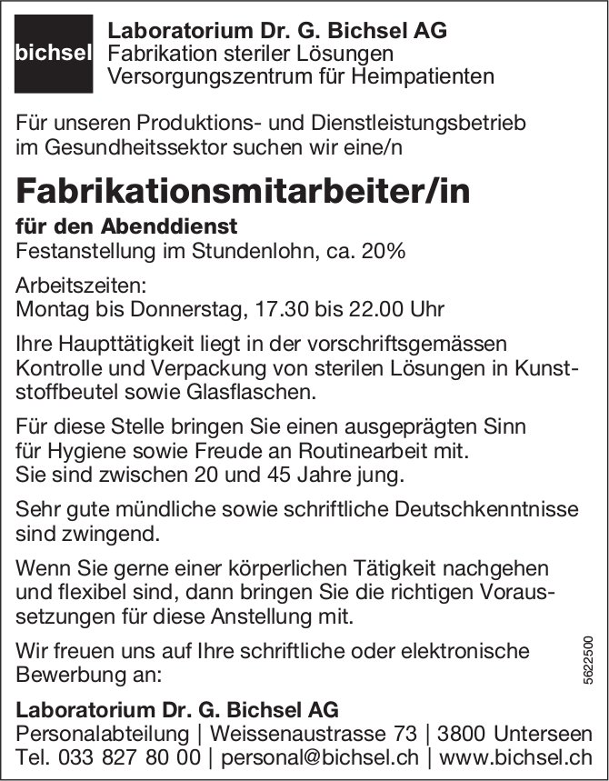 Fabrikationsmitarbeiter/in, Laboratorium Dr. G. Bichsel AG, Unterseen, gesucht