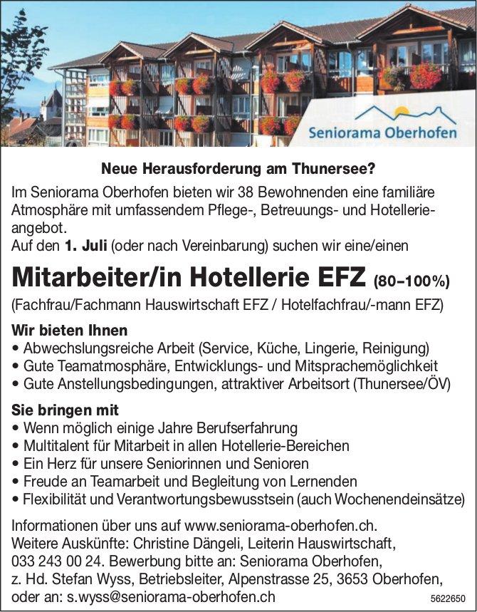 Mitarbeiter/in Hotellerie EFZ (80–100%), Seniorama Oberhofen, gesucht