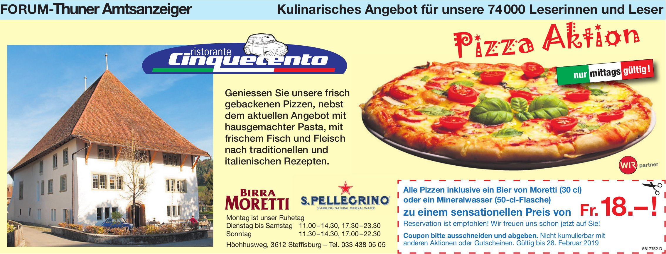Forum-Thuner Amtsanzeiger - Ristorante Cinquecento: Pizza Aktion bis 28. Februar