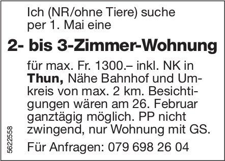 2- bis 3-Zimmer-Wohnung in Thun, Thun, Nähe Bahnhof und Umkreis von max. 2 km per 1. Mai gesucht
