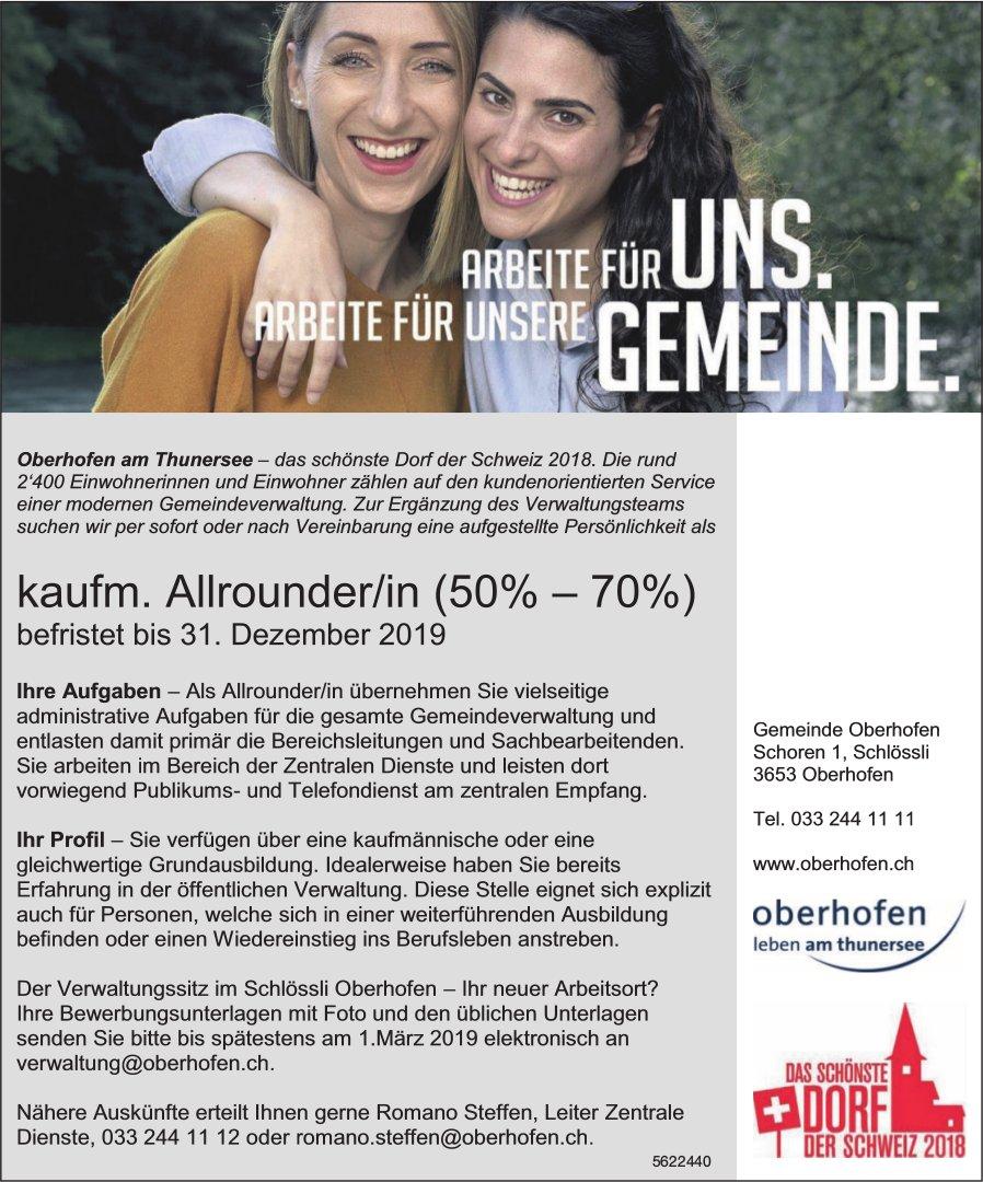 Kaufm. Allrounder/in (50% - 70%), Gemeinde Oberhofen am Thunersee, gesucht