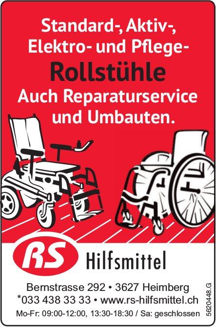 RS Hilfsmittel - Standard-, Aktiv-, Elektro- und Pflege-Rollstühle